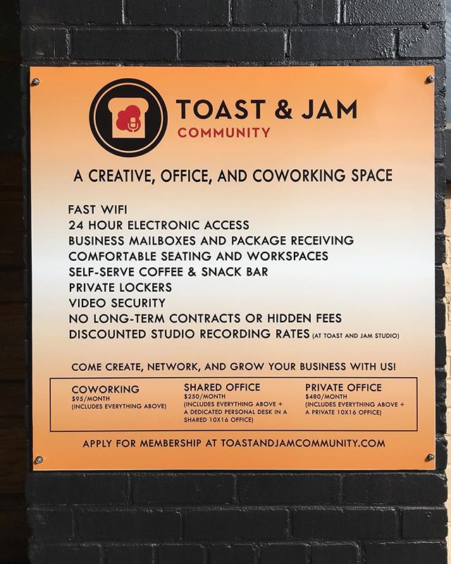 The sign out front with all the details. Click the link in the bio for more! - #coworking #buford #coworkingspace #creativespace #coworkingatlanta #coworkingvisa #creativeofiice #office #toastandjamstudio