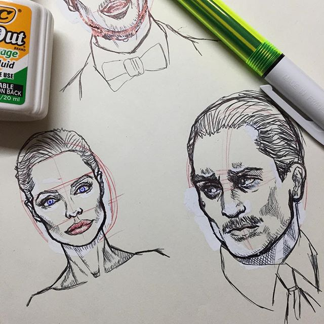 Daily Practice. Million miles to go. #ballpointpen #ballpointpenart #sketch #figuredrawing #angelinajolie #robertdeniro #caricature #quicksketch #witeout #볼포인트펜 #데생 #데생연습