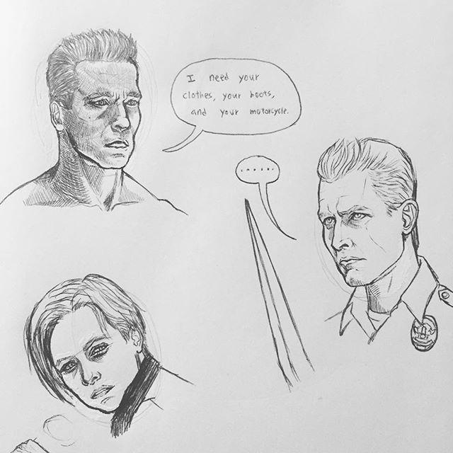 Daily Practice.  #ballpointpen #ballpointpenart #ballpointpendrawing #drawingpractice #sketch #dailysketches #sketchbook #terminator #terminator2 #t1000 #arnoldschwarzenegger #edwardfurlong #robertpatrick #skynet #johnconnor