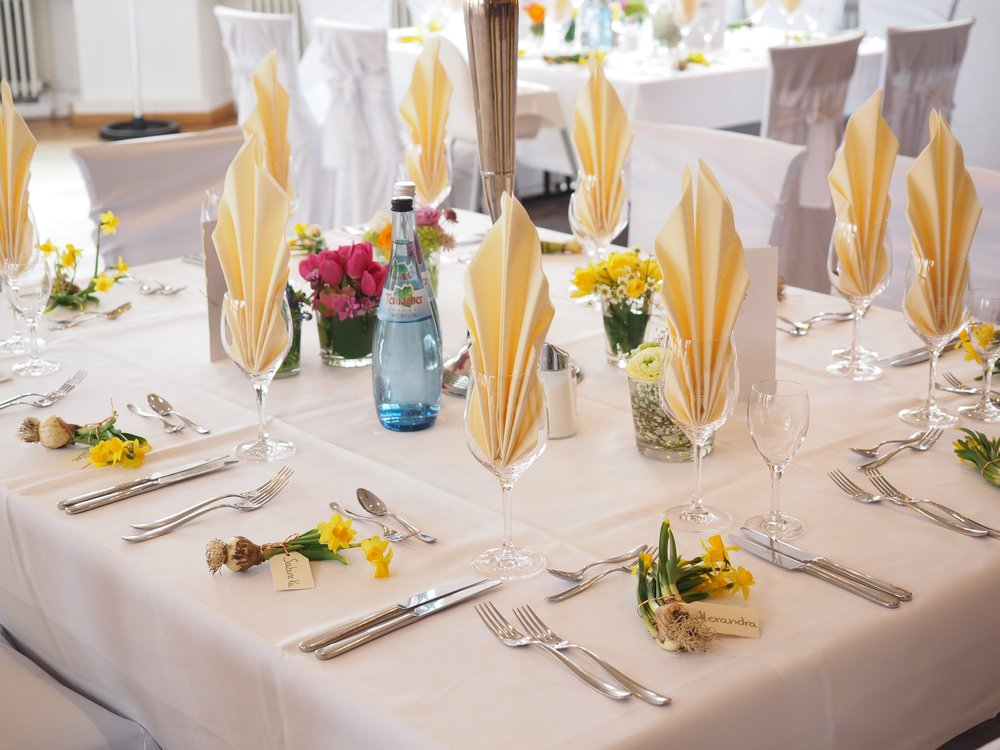 Catering to your function   We can custom-make tablecloths and napkins to your specific measurements in any of the above fabrics.  Table runners, sashes, and chair covers are also available upon request.