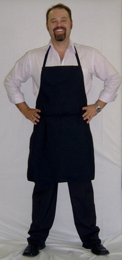 Aprons   - Black  - White  - Other colours available on request  Can be personalized by embroidery or printed logo.