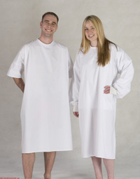 Patient gown   Long Sleeve or Short Sleeve  Cotton rich construction  Meets AS3789.3 requirements