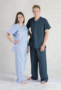 Scrubs - premium    Reversible top and pants with chest and hip pocket  Cotton rich construction
