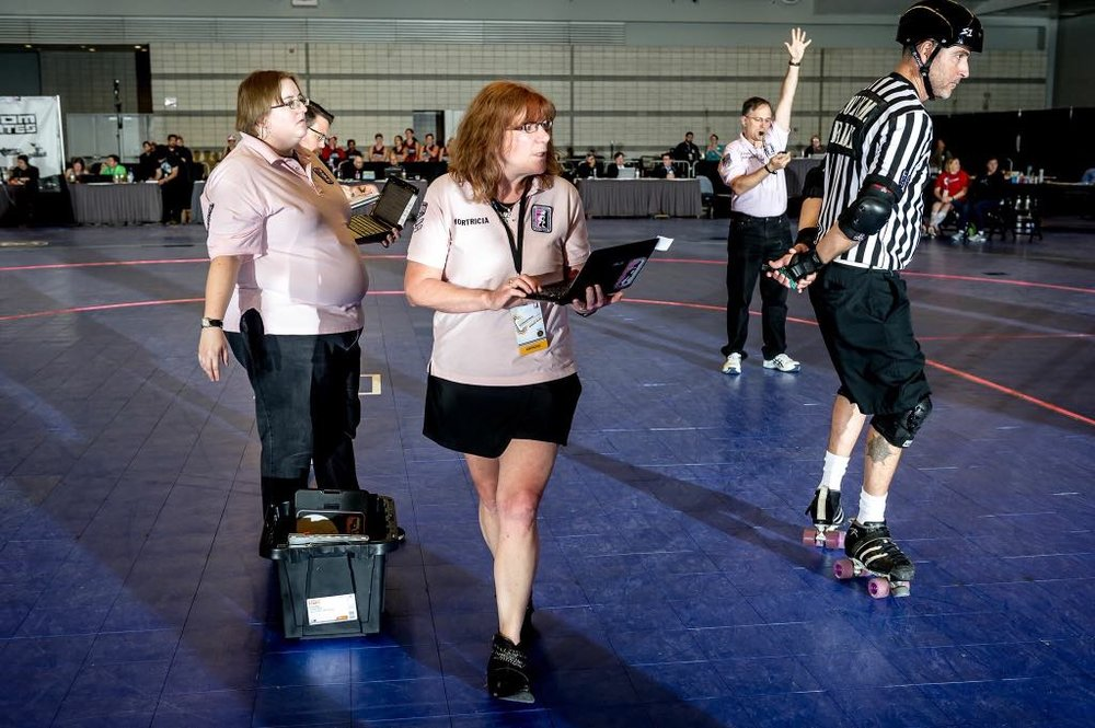 Mortricia officiating at the 2017 WFTDA Division 1 Playoffs in Seattle, WA