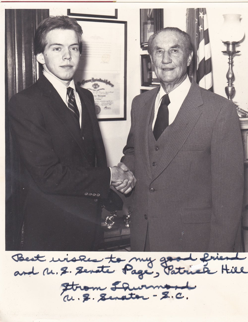 PatrickLHill.Com   - Patrick L. Hill and US Senator Strom Thurmond in Washington office during January 1981 as Senate Office Page. Patrick is our owner.