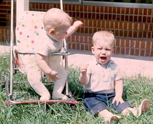 On left with brother Randy in Hampton, Virginia before moving to Vegas. 1964 Father was stationed at Langley AFB.