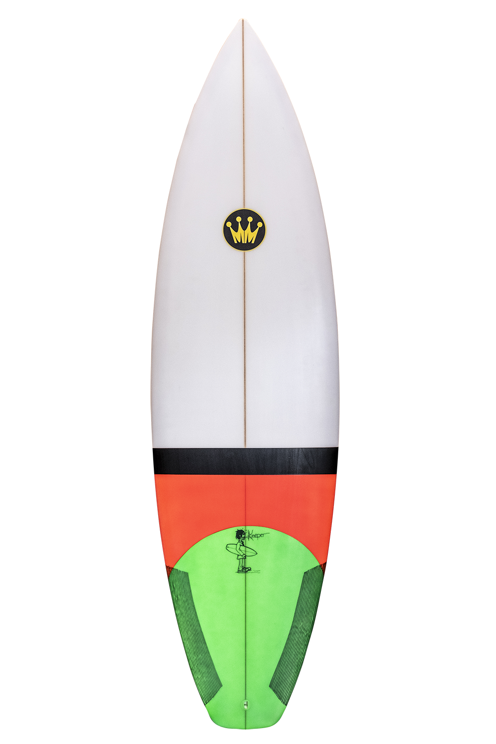 "Shape : Keeper   Length:  7'6""   Width:  19 7/8""   Thickness:  2 3/4""   Volume:  38L   Fins:  Thruster FCS II   Tail Shape:  Pin"