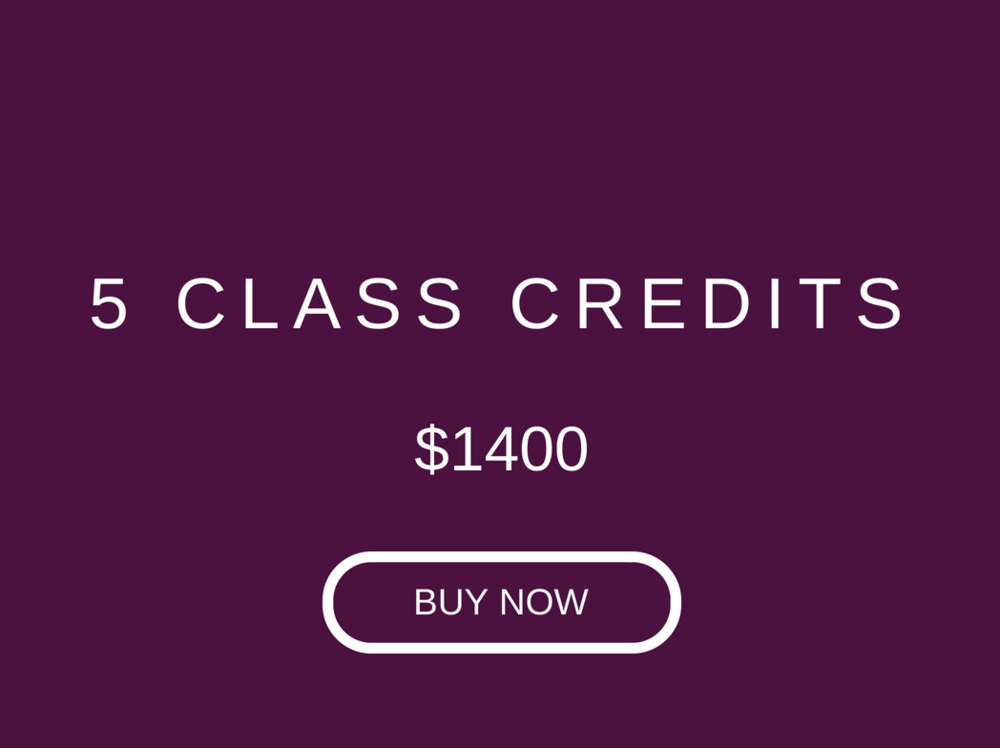 1 credit ($280) for all classes. Valid only at our Central Studio, for 4 weeks from purchase date. Subject to 3% payment fee for online payments.