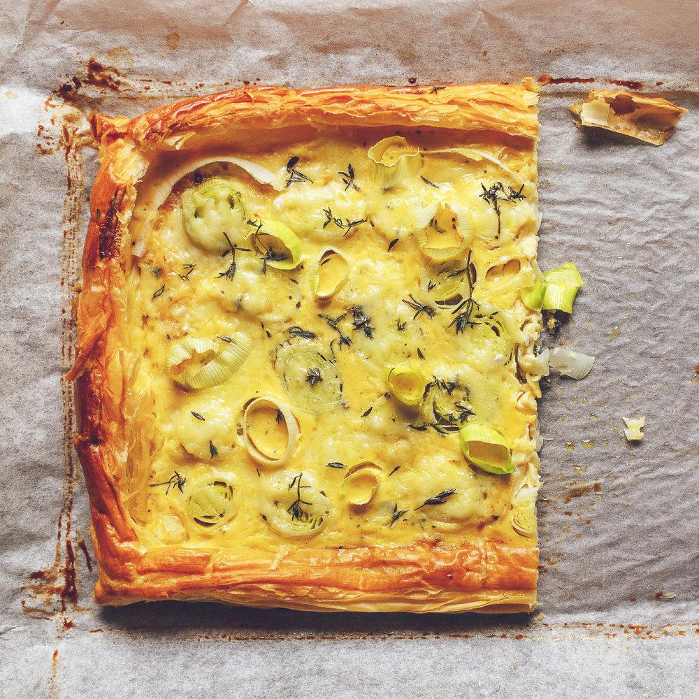 Easy leek and gruyère tart