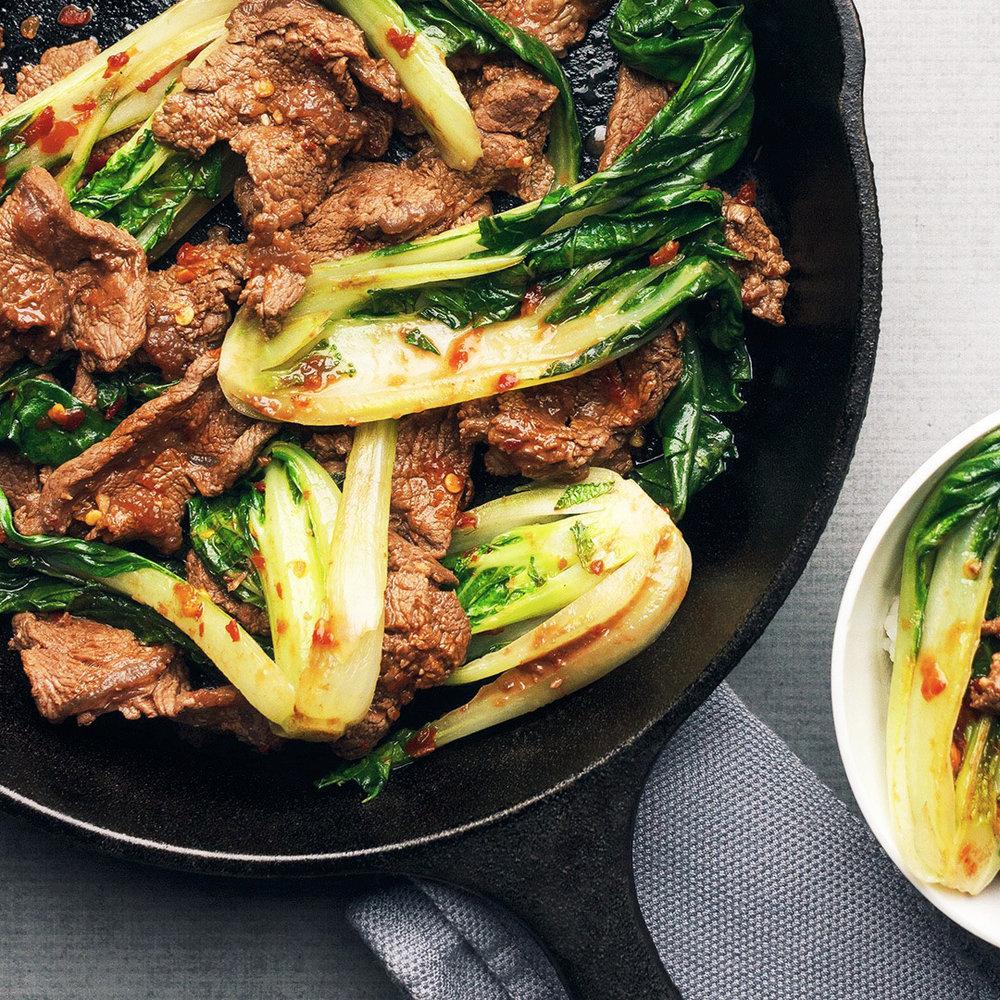 Flatiron steak and bok choy