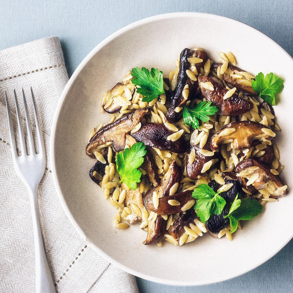 Portobello mushrooms with orzo sauce