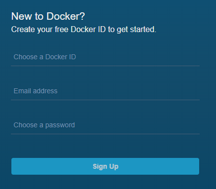 Docker sign in form page