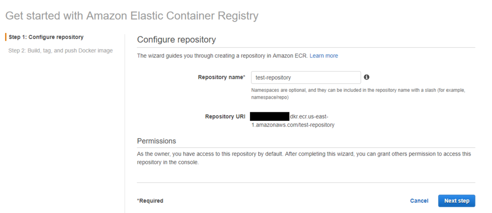 ECR repository creation