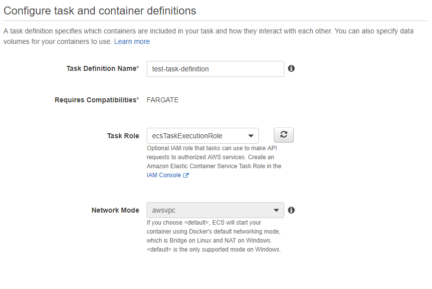 Task definition details