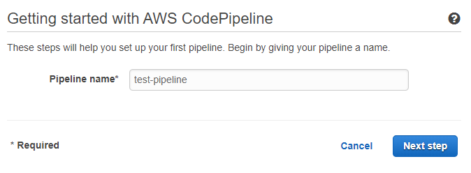 CodePipeline creation step 1