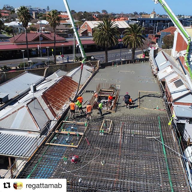 In slab conduits stage 2 done ☑️#Repost @regattamab with @repostapp ・・・ Perfect day for level 1 slab at Trident Apartments in Sandringham. Great work by the Regatta boys and #advanceconcrete j&r steelfixers and international formwork systems
