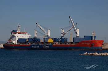 34.734 dwt bulk carrier built in 2011 by Daoda Heavy Industry in Qidong, China. Manager: H Vogemann Reederei GMBH Flag: Liberia AIS Type: Cargo ship Ownership: 19,95% Fixed on a 6-8 months charter to Falcon Navigation A/S, Copenhagen, with commencement 17th September at USD 11.000 gross per day.