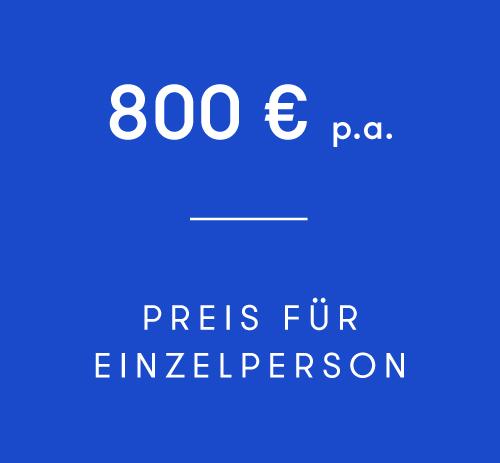 Die Mitgliedschaft als Einzelperson beträgt € 800,00 netto p.a.