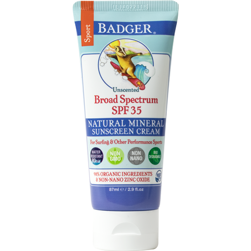 Badger SPF 35 Sport Sunscreen available at   The Choosy Chick