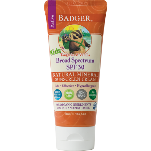 Badger SPF 30 Kids Sunscreen available at   The Choosy Chick