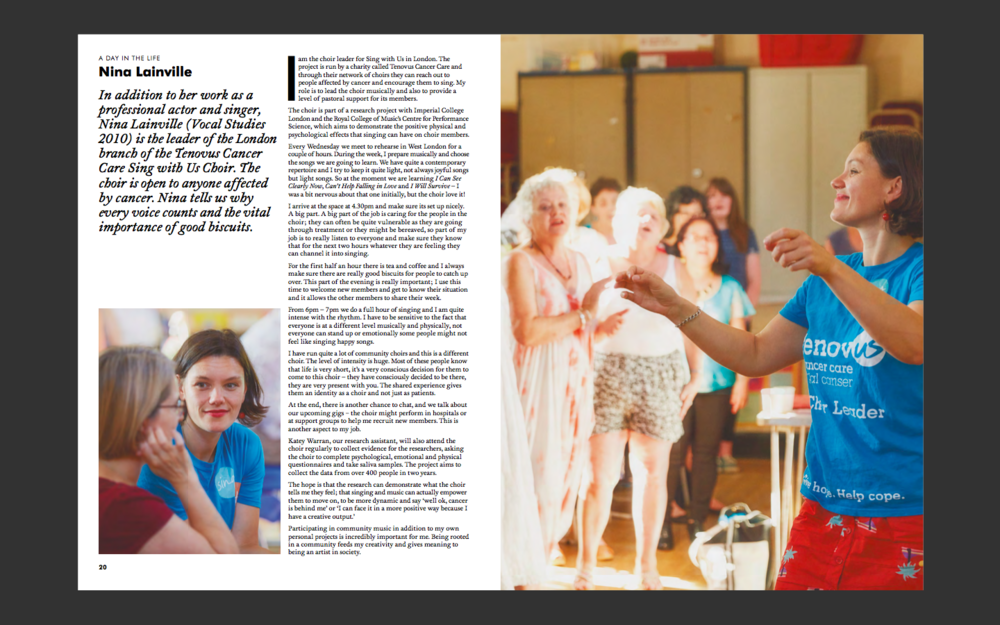 - Here is an article from Guildhall School of Music and Drama Alumni magazine, PLAY, about my role as choir leader for Sing With Us in London.