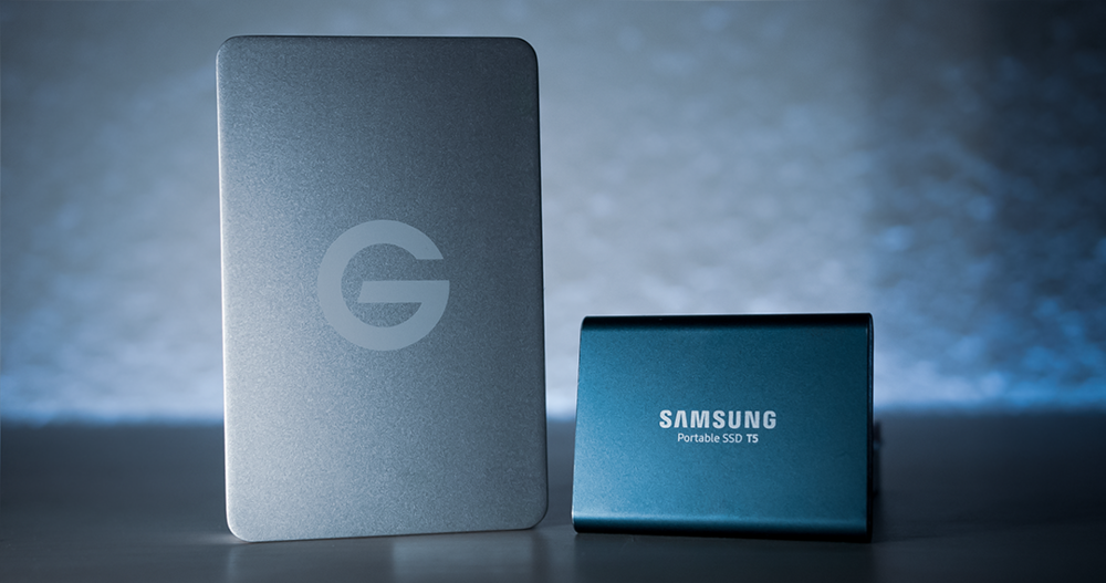 G-Technology USB Hard Drive  and  Samsung T5 Portable SSD