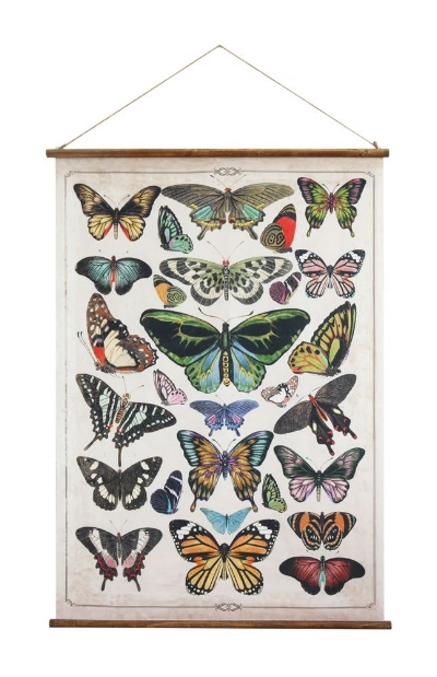 This butterfly scroll print on canvas ($40) has been a fave since we saw it in Atlanta this winter. The color is fantastic and the wooden dowels that frame it give it the perfect vintage look.