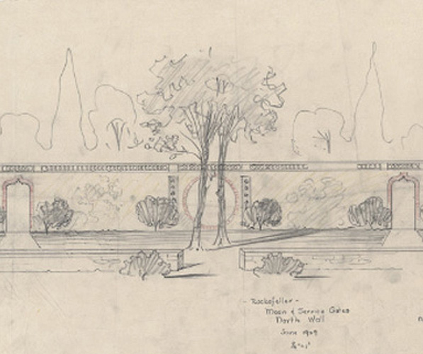 Beatrix Farrand's preparatory sketch for the Moon Gate wall at the Abby Aldrich Rockefeller Garden in Seal Harbor, Maine. Beatrix Jones Farrand Collection, Environmental Design Archives, University of California, Berkeley.