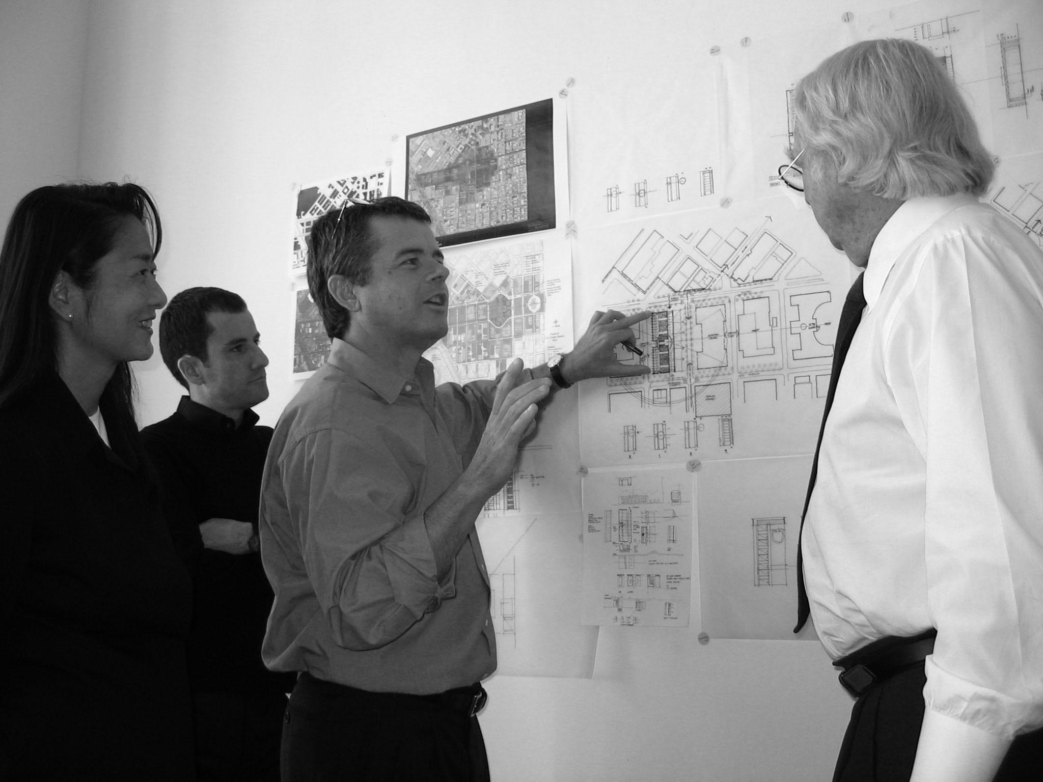 Vivian and RMP staff during a design meeting with Richard Meier.