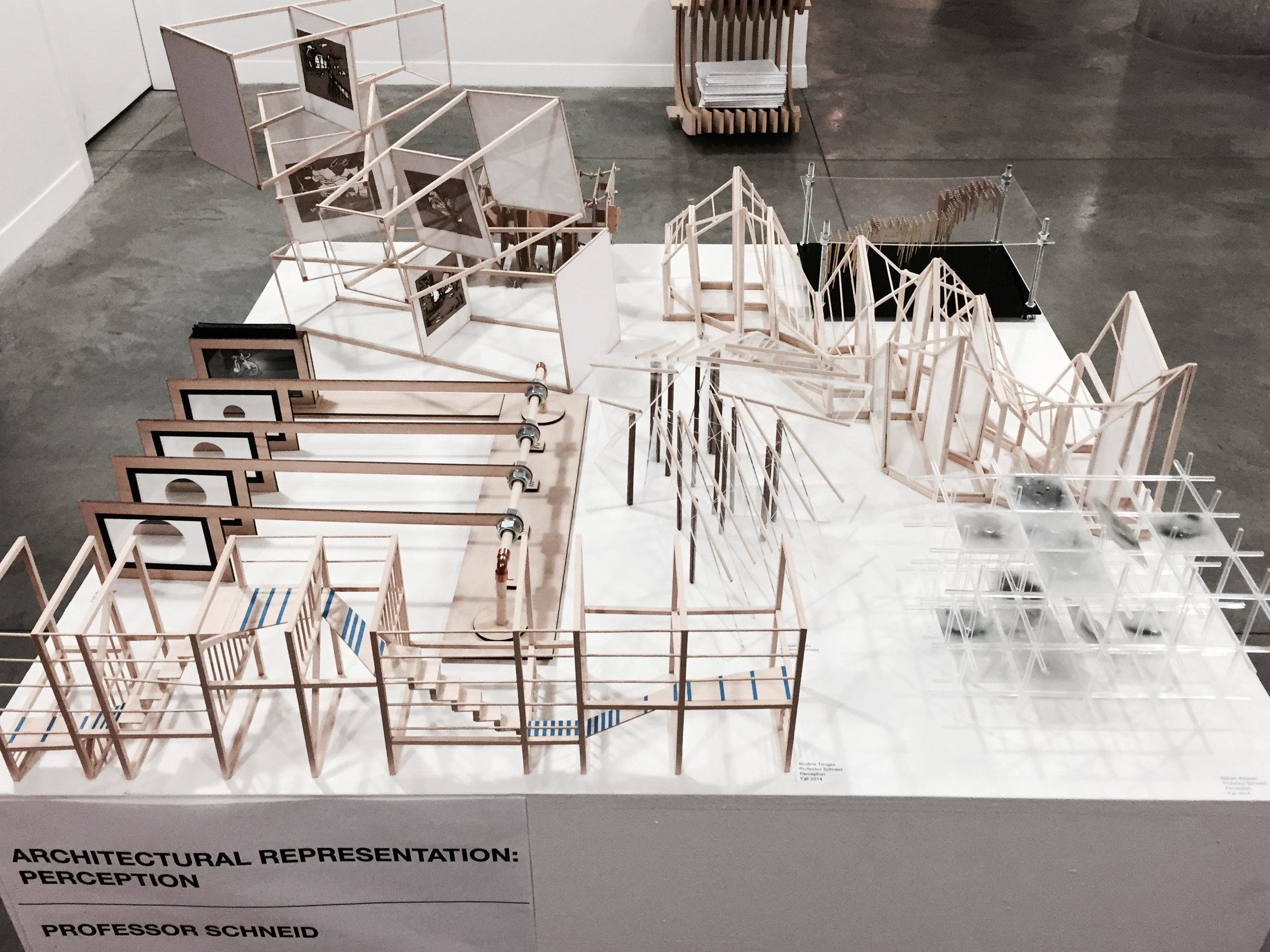 Final models produced by students in Irina's Fall 2015 Barnard +Columbia Architecture introductory design studio: 'Sight' Specific. Photo: Irina Schneid