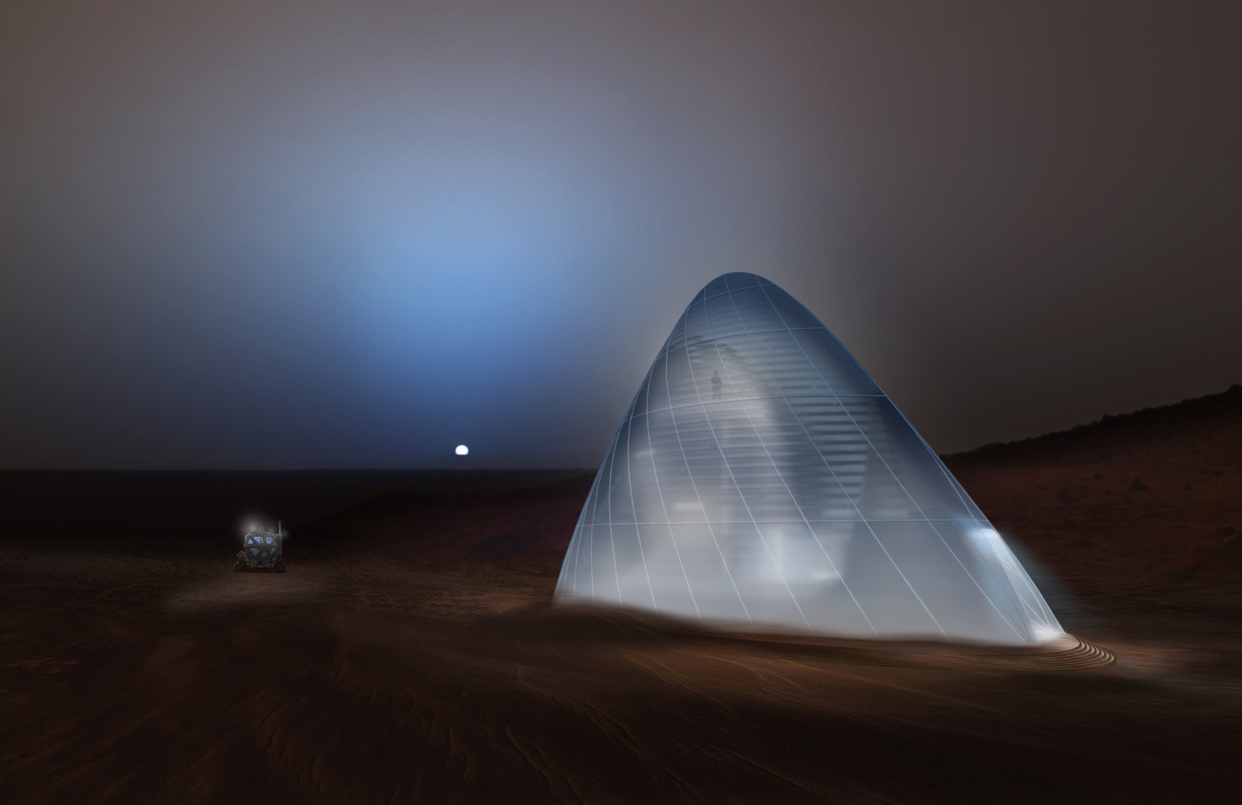 Mars Ice House. When taking the habitat from survivability to habitability, water is an indigenous resource which both protects from the radiation environment and offers human occupants a way to experience their new environment through a translucent membrane. Courtesy SEArch / CloudsAO
