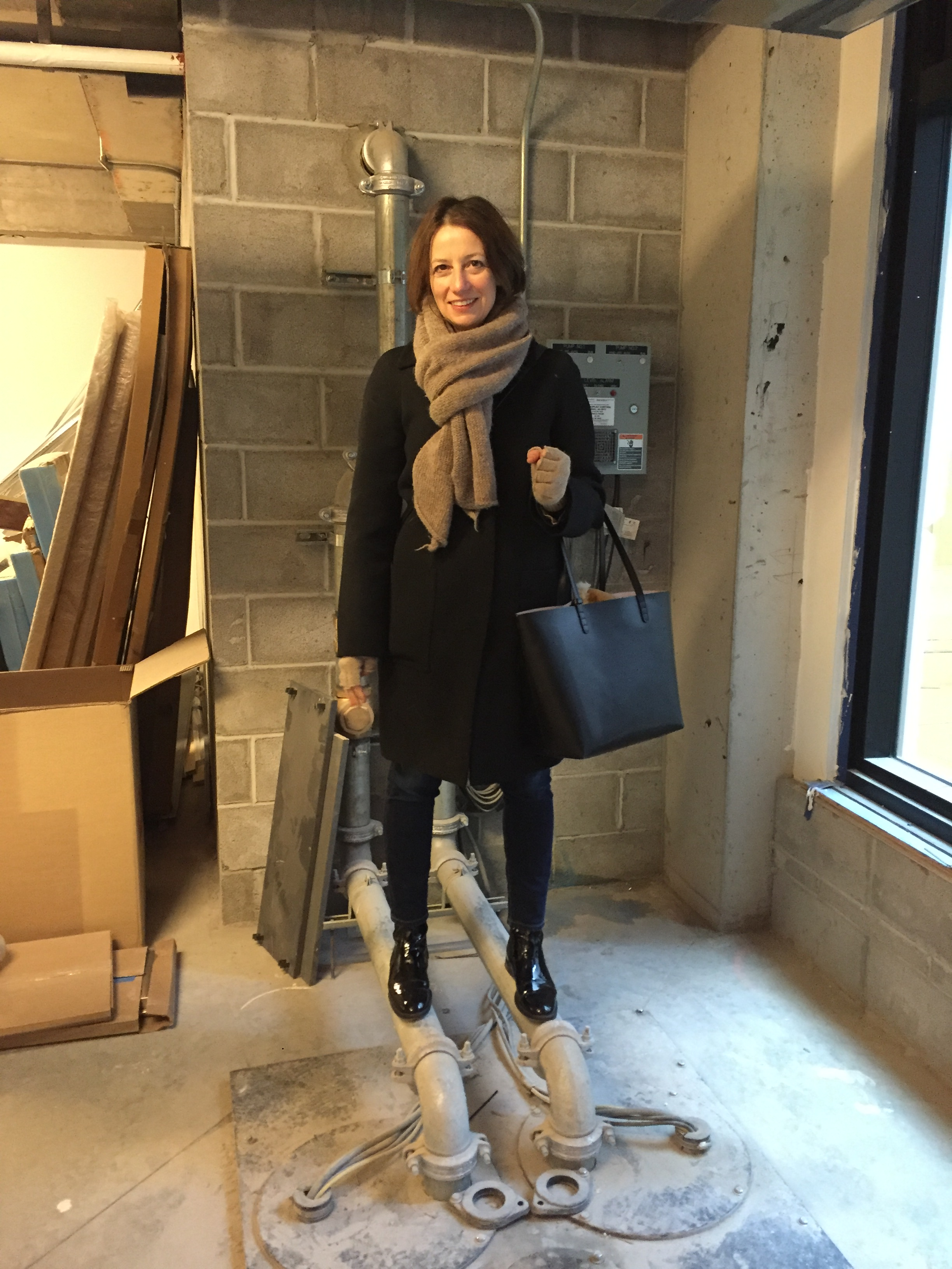 Sara on site with Selldorf Architects.