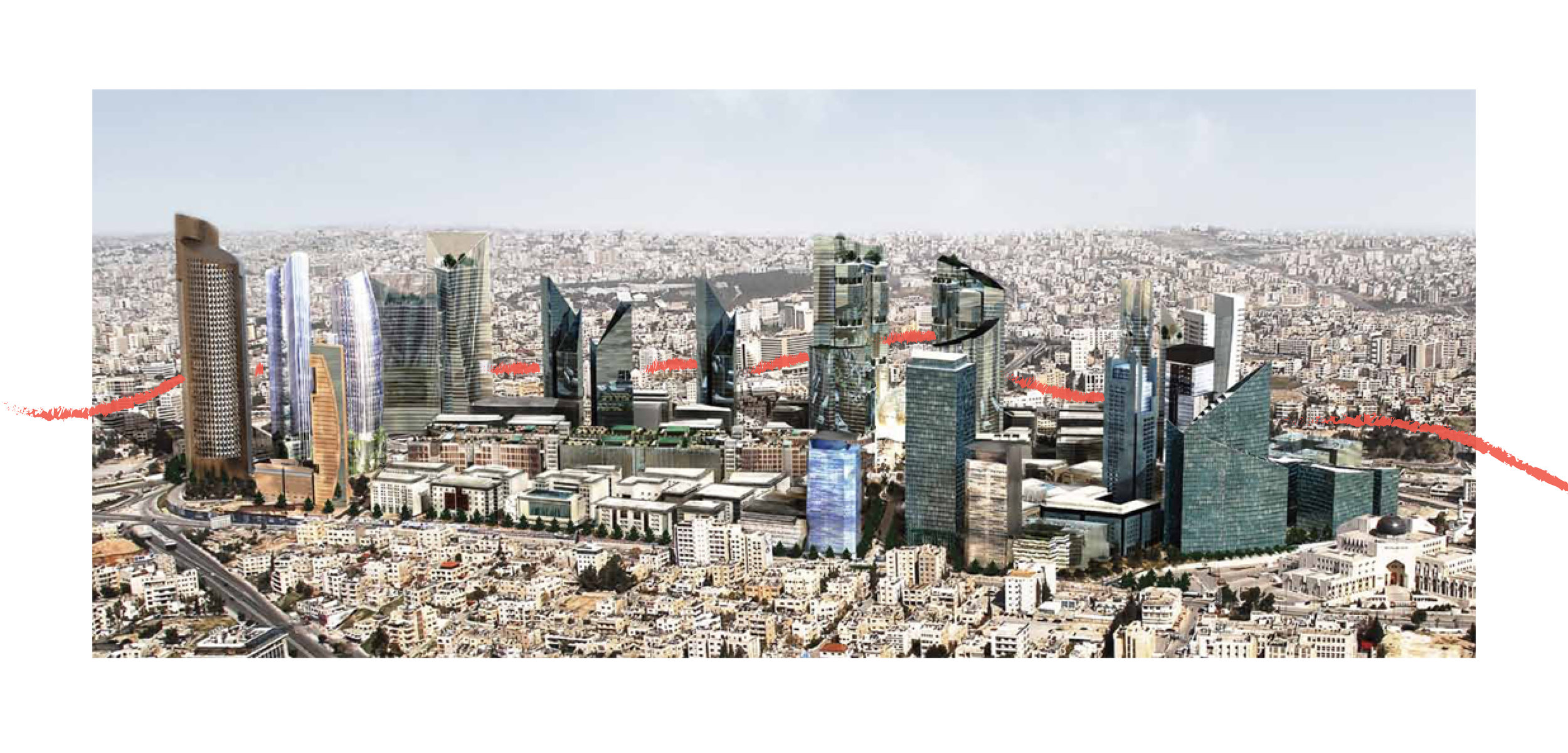 Al-Abdali Regeneration Project situated along a virtual edge between West and East Amman. Source: Abdali Investment & Development Psc.