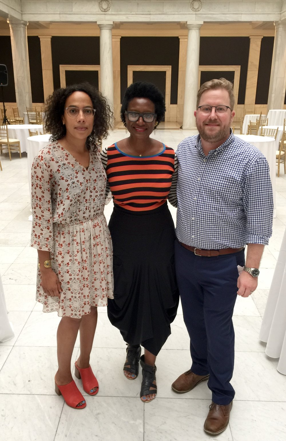 Luckett (middle) with  20/20  curators, Amanda Hunt (left) of the Studio Museum in Harlem and Eric Crosby (right) of the Carnegie Museum of Art. Courtesy of Kilolo Luckett.