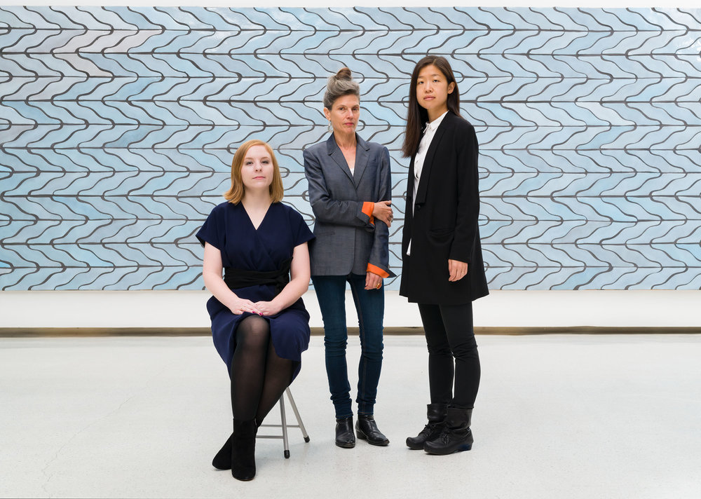 Ingrid Schaffer (center) with Associate Curator Liz Park (right) and Curatorial Assistant Ashley McNelis (left). © Carnegie Museum of Art, Pittsburgh. Photo: Bryan Conley.
