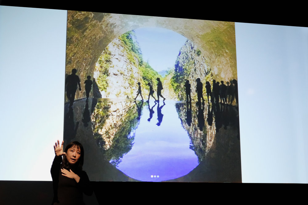 """Dang Qun presenting her lecture """" Future City: Human and Nature """" at the Carnegie Mellon School of Architecture Fall 2018 Lecture Series. Photo: Michael Powell."""