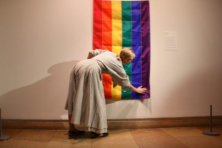 Fisher at the PMA celebration of the Rainbow Flag in 2018. Photo by Emma Lee, courtesy Michelle Millar Fisher.