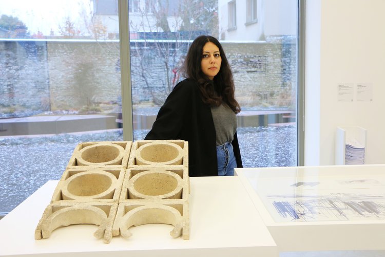 The artist, Saba Innab. Courtesy Biennale d'Architecture d'Orléans 2017 and Frac Center-Val de Loire.