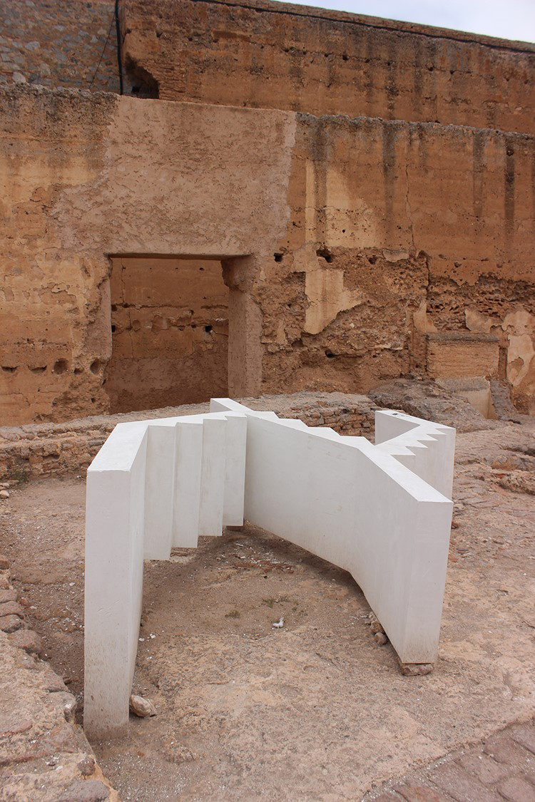 View of Time is Measured by Distance , 2016, plaster and cement. Commissioned for Marrakech Biennial 6, 2016. Photo: Nuha Innab. Courtesy Saba Innab.
