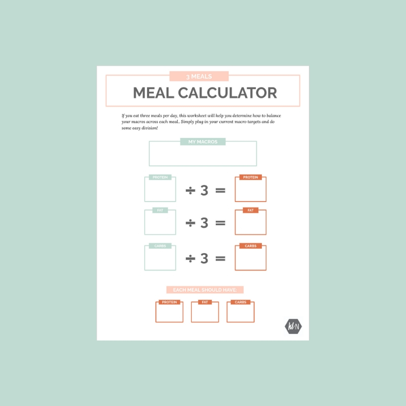 Kate Lyman Nutrition tracking macros easy meal calculator worksheet