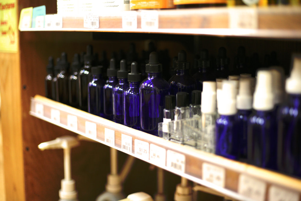 Sundance also sells vitamins and essential oils in bulk. Shown above are the glass vials and bottles to take home vitamins, oils and other sundry products available in bulk.
