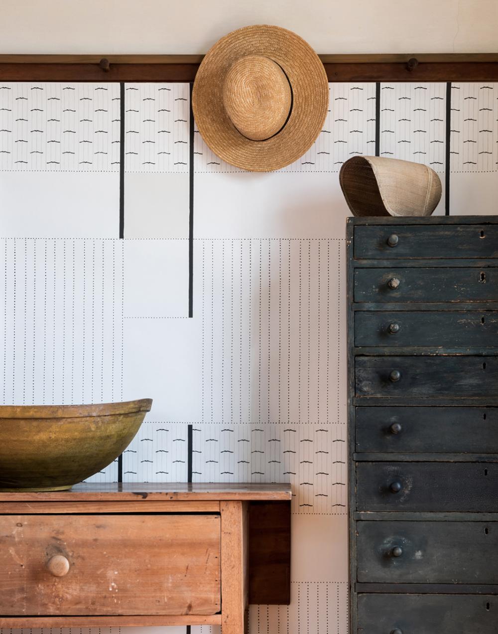 wallpaper, fayce textiles, peg rail natural
