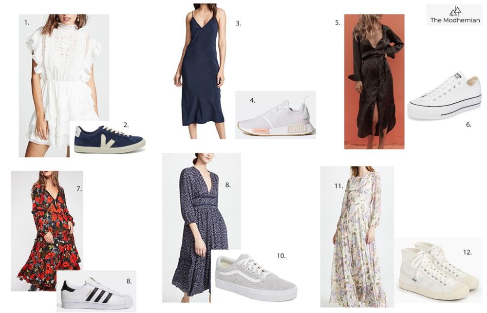 the modhemian, dresses with sneakers trend