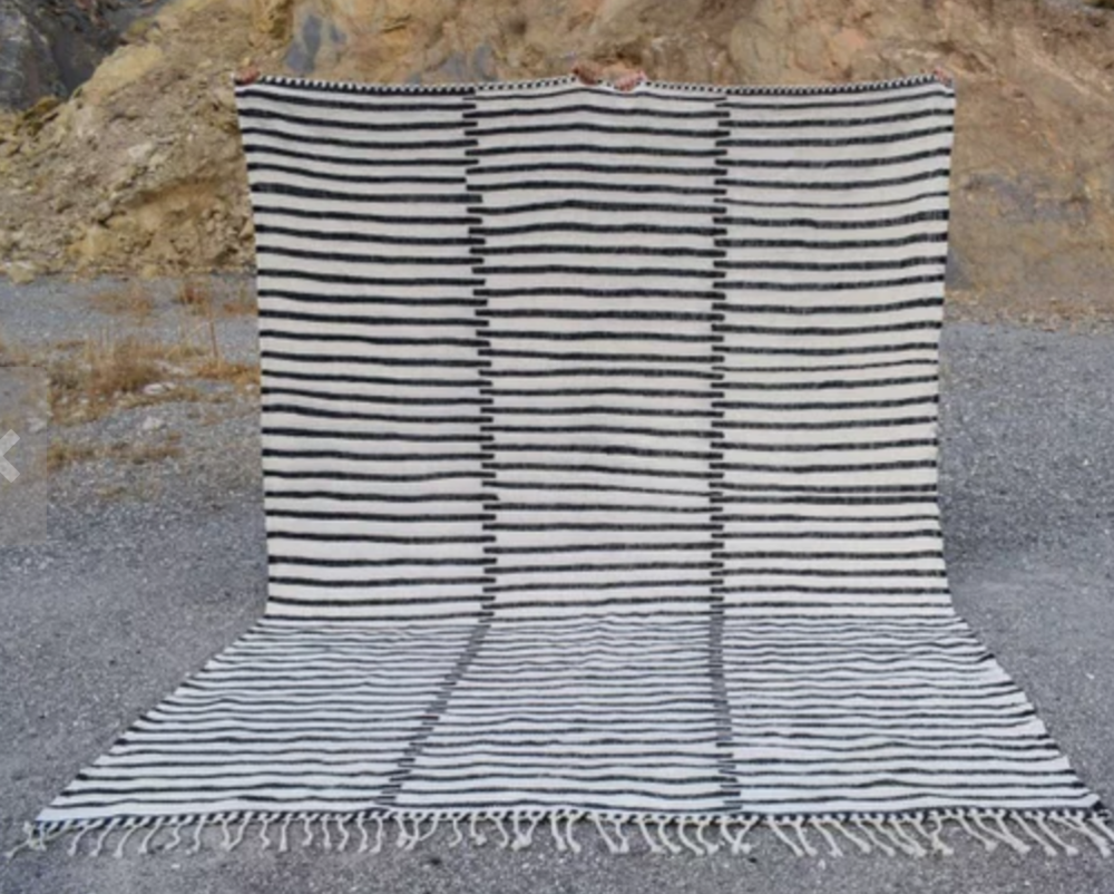 striped flatweave, modern rug, etsy picks of the month, n=modern bohemian interiors