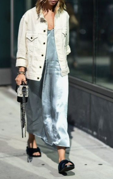 slip dress with  jacket, layering slip dress for fall