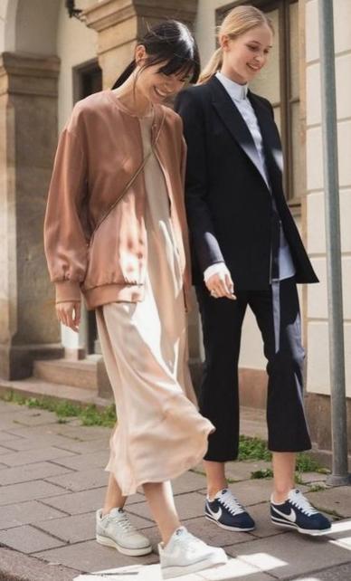 jacket over slip dress, slip dress for fall