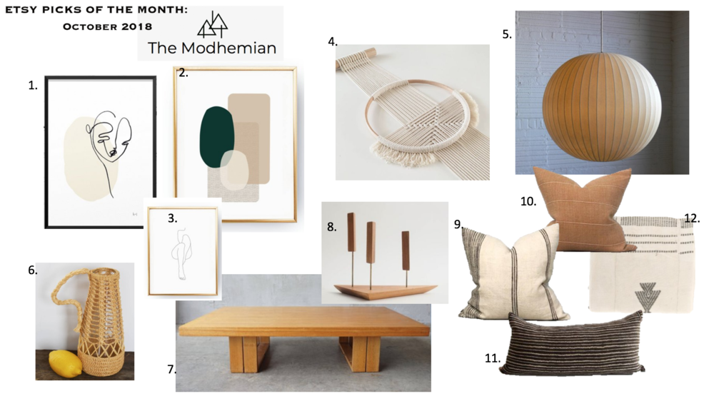@themodhemian Etsy Picks of the Month October, Modern Bohemian Interior Styling