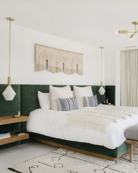 @sarahshermansamuel is hitting my green button and the structured modern fiber art in her Mandy Moore Master Bedroom Design. Killer!