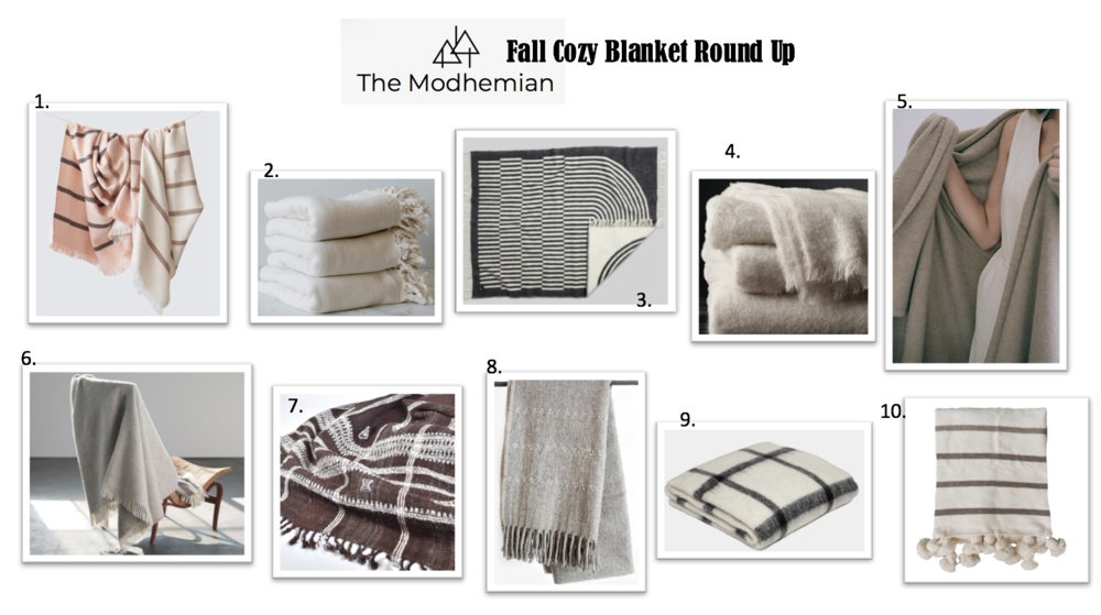 @themodhemian blanket round up, cozy bedroom styling, modern boho bedroom