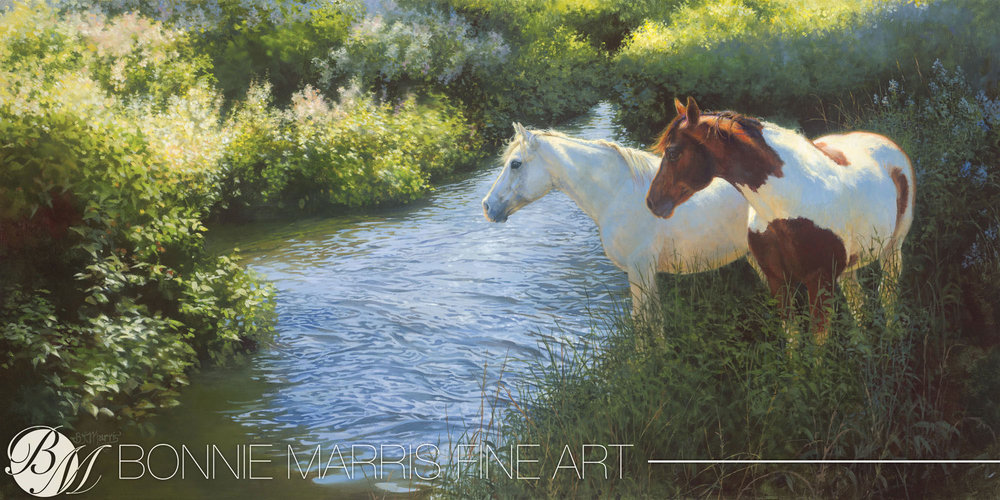 "Morning Muses   Artist Bonnie Marris lives on a farm in Michigan with her husband, three horses and two dogs. Collectors of her work will recognize the coloring on this pair of friends, caught early one warm fall morning when Bonnie stepped outside to check on them. Her horses are her muses and she never tires of following the light moving across their backs throughout the day and the way the whites and shadows in their hair change colors.  ""I love this painting because it is as much about the relationship between the horses as it is about the lighting at this time of day and the textures in the grass, alongside the ripples in the water. It's a meditation, a very soothing piece.""  Marris has become a very successful fixture at the annual Masters of the American West Fine Art Exhibition and Sale at the Autry National Center of the American West and 2010 was no exception. Watch future Catalogues for more exceptional offerings from Bonnie Marris."